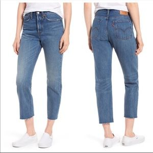 Levi's Wedgie straight leg raw hem high rise jeans